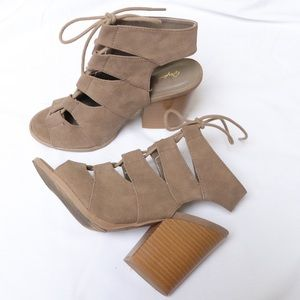 Qupid Tan Suede Lace Up Cut Out Heels